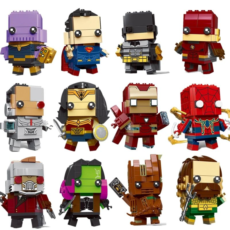 New Brickheadz Legoinglys Figures Super Hero DC Justice League Brick Heads Iron Man Spider Man Building Blocks Kids Toys