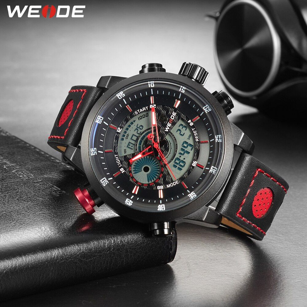 WEIDE Männer Sport Casual Quarz Digital Datum Alarm Repeater Chronograph Echtem Leder Strap Handgelenk Uhren Reloj montre homme