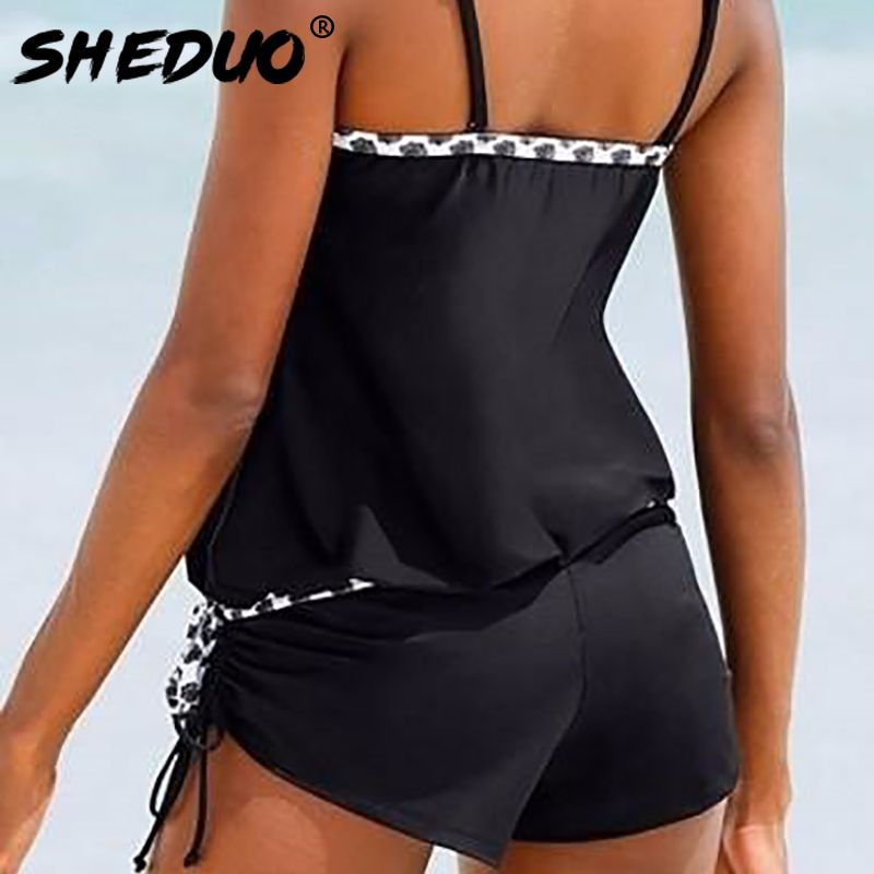 One-piece 2017 Swimwear New Conservative Bathing Suit Narrow Strap Dots <font><b>Bordered</b></font> Swimsuit Loose Style Black Push Up Women