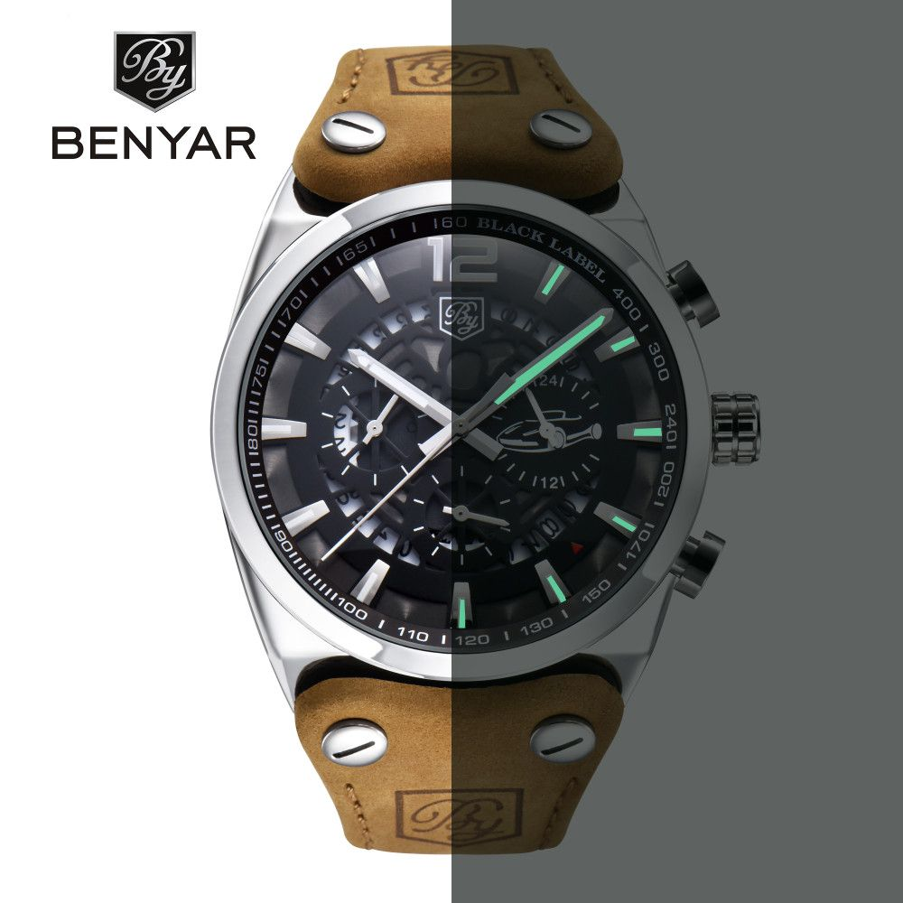 BENYAR Brand Chronograph Sports Men Watches Fashion Military Waterproof Leather Quartz Watch Relogio Masculino Zegarek Meski
