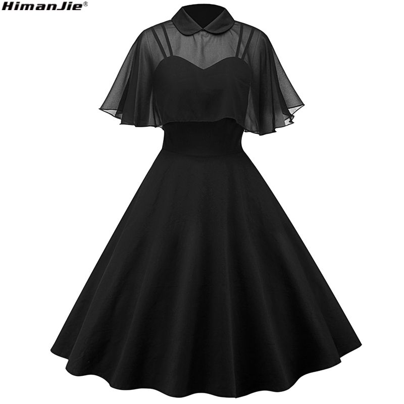 2018 Retro Hepburn style doll collar strap butterfly sleeve cloak thin waist big hem perspective chiffon vintage dresses 4 color