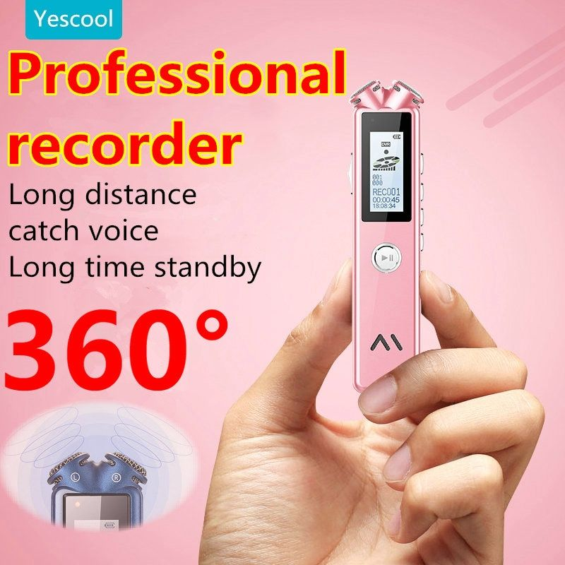 Yescool A20 8|16|32GB professional mini Digital voice Recorder dictaphone enregistreur MP3 music player Blue White Pink optional
