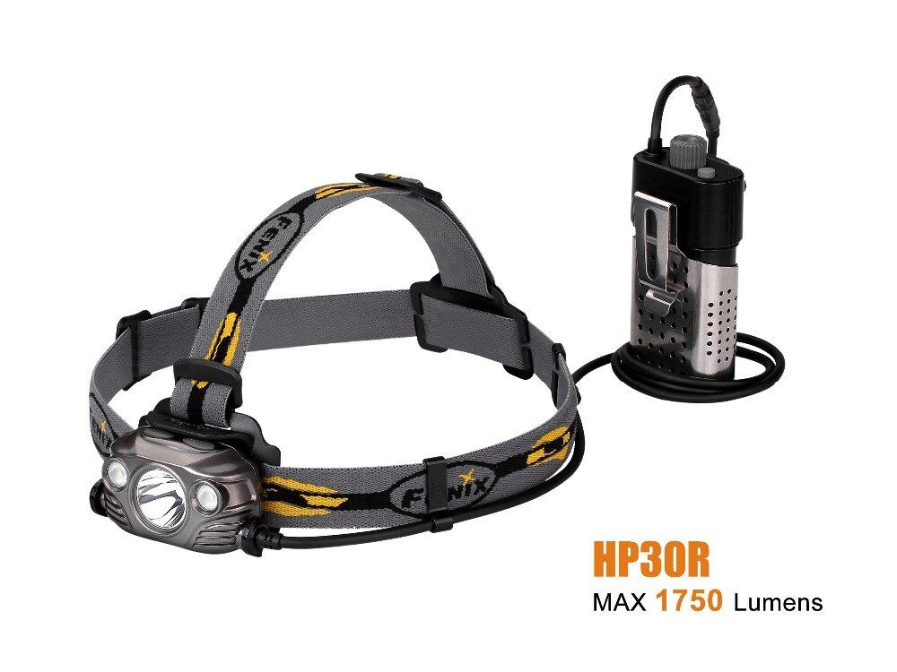 2017 New Fenix HP30R Cree XM-L2 and XP-G2 R5 LED 1750 lumens Headlamp with two Fenix ARB-L18-2600 batteries