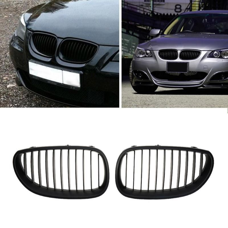 VODOOL 2pcs Front Matte Black Car  Kidney Grilles for BMW E60 E61 520d 520i 523li 525li 530li ABS Car Accessories