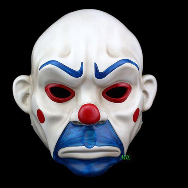Adulte Batman Joker Clown Banque Voleur Masque Dark Knight Costume Halloween Mascarade Parti Fantaisie Résine Masques Livraison Gratuite