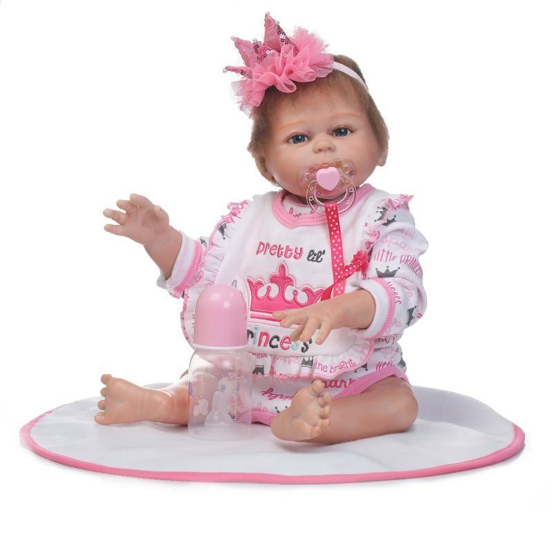 50cm Full Silicone Body Reborn Princess Babies Doll Toys Newborn Baby Doll Lovely Kids Birthday Gift Bathe Toy Girls Brinquedos