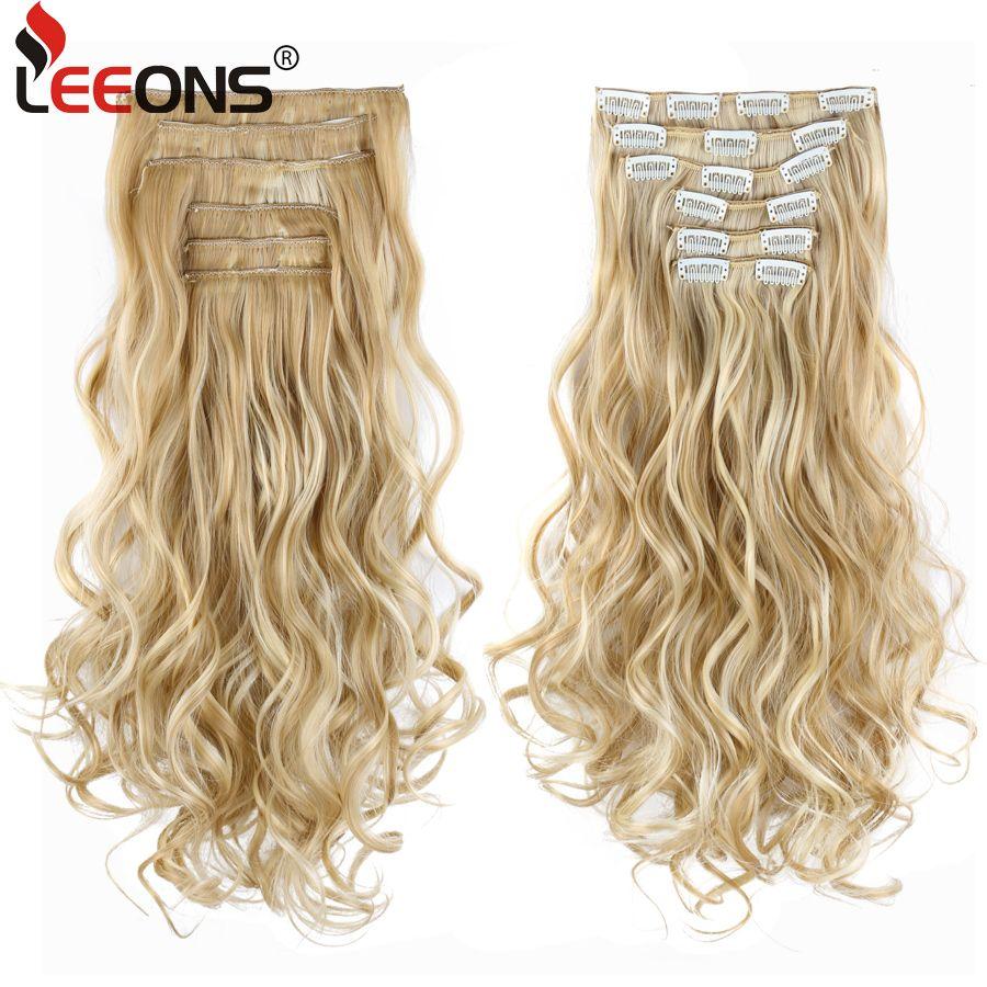 Leeons 22 pouces haute température fibre bouclée synthétique 16 Clips dans Extensions de cheveux pour femmes postiches Ombre cheveux bruns pièces