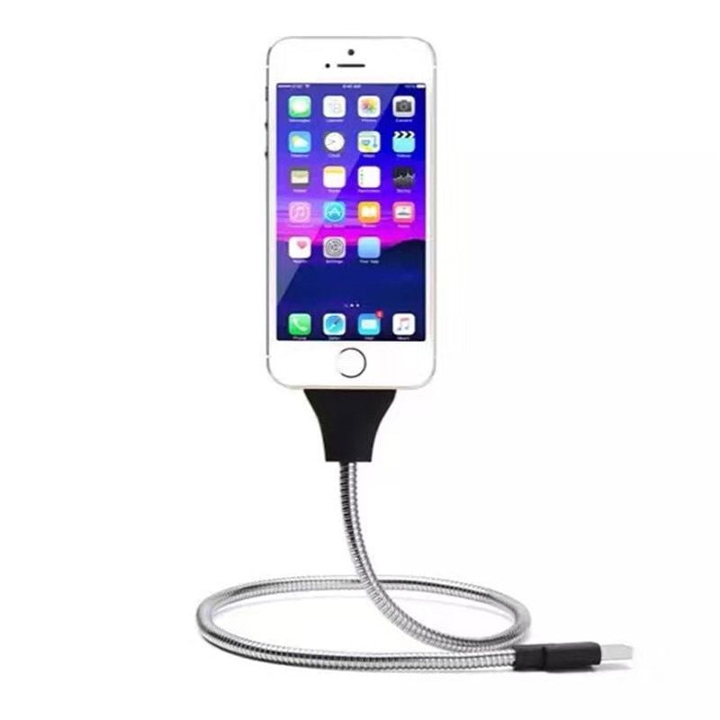 Stand UP USB Charging Data Cable Phone Charger Palm Bracket Holder For Xiaomi mi 9 Redmi Note 7 iPhone Android Typec Smartphones