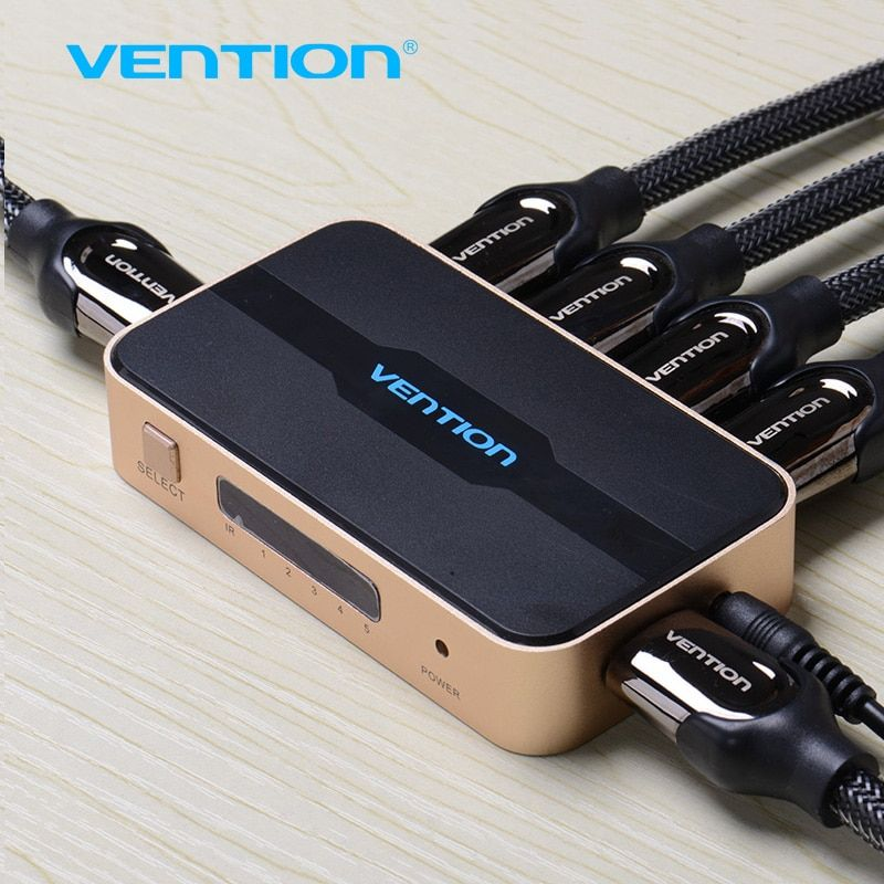 Vention <font><b>HDMI</b></font> Splitter Switch 5 input 1 output <font><b>HDMI</b></font> Switcher 5X1 for XBOX 360 PS4/3 Smart Android HDTV 4K*2K 5 Port <font><b>HDMI</b></font> Adapter