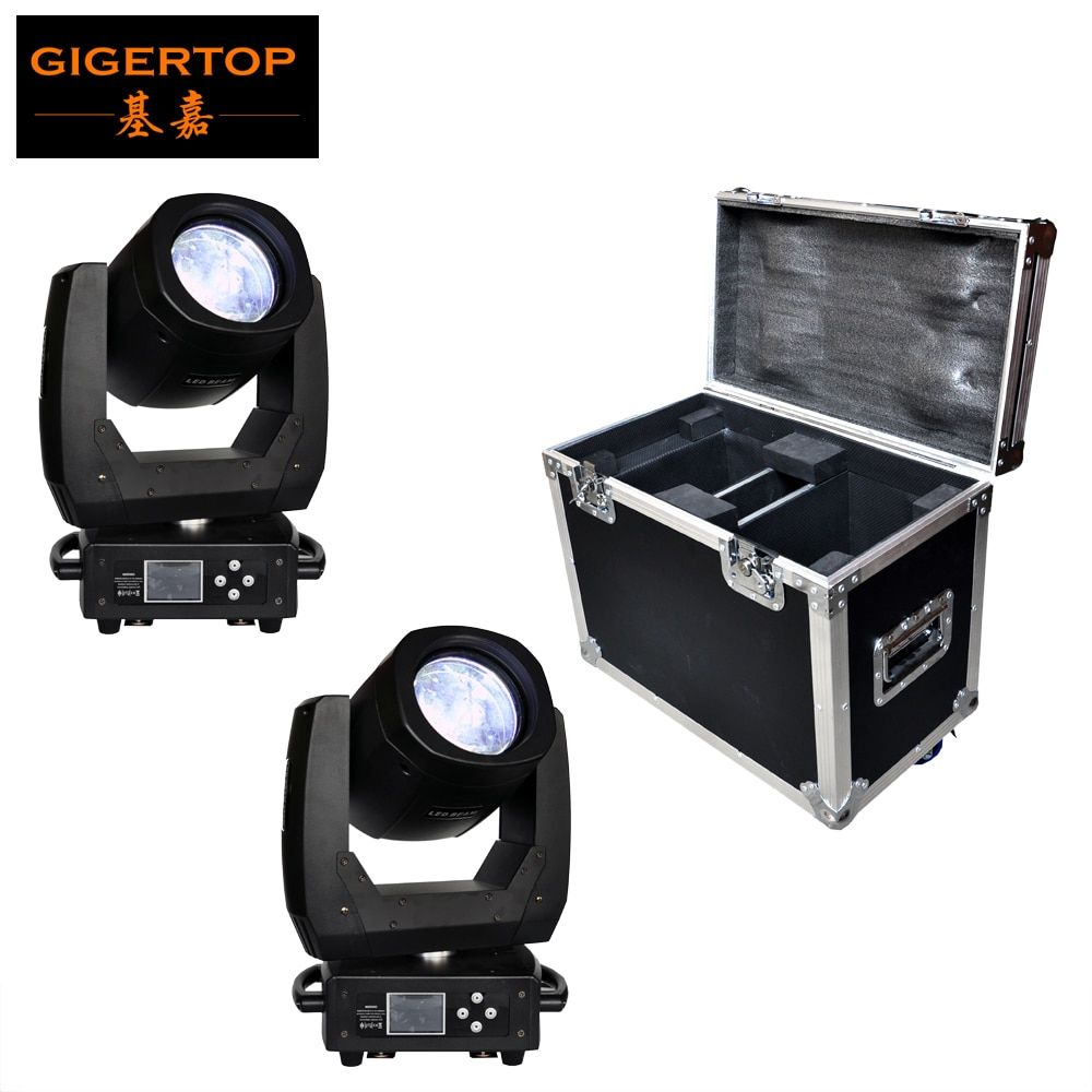 FLightcase 2in1 Pack 150W Led Moving Head Light Scanner Beam Effect 8 Facet Lens 11 Color+open/17 Gobo+open Full Color Display
