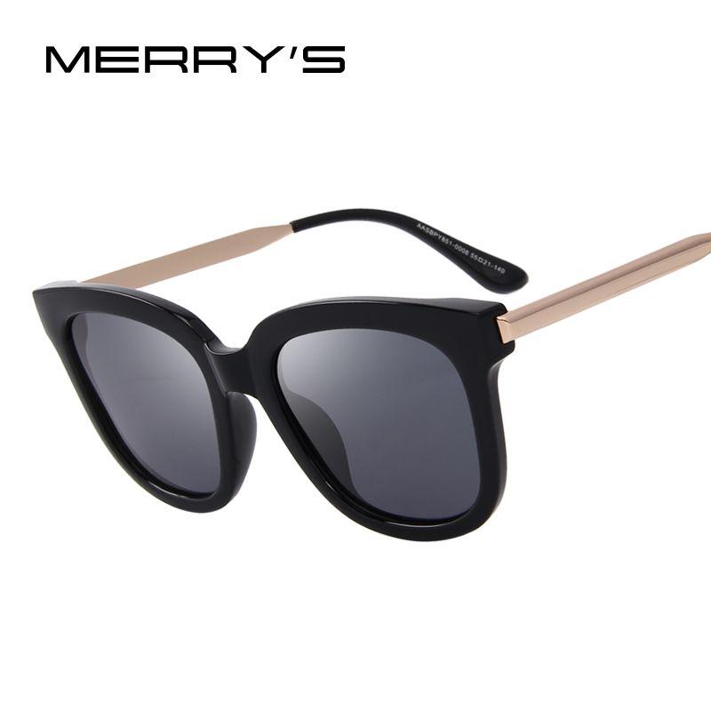 MERRY'S Women Classic Cat Eye Polarized Sunglasses Brand Designer Sunglasses Metal Temple 100% UV Protection S'6163