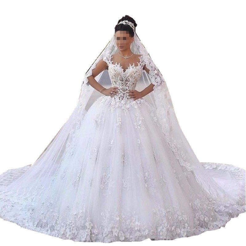 Vestido de noiva princesa luxo Backless Sweetheart Lace Wedding Dress See Through Royal Tail Luxury Bridal Dress Robe de mariee