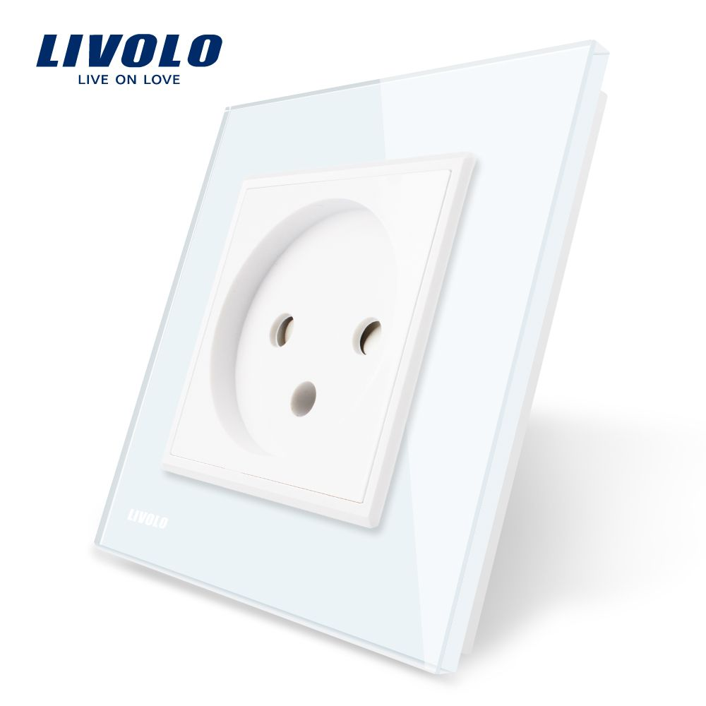 Livolo EU Standard Israel Power Socket, Crystal Glass Panel, AC 100~250V 16A Wall Power Socket, VL-C7C1IL-11/12/13/15(4colors)