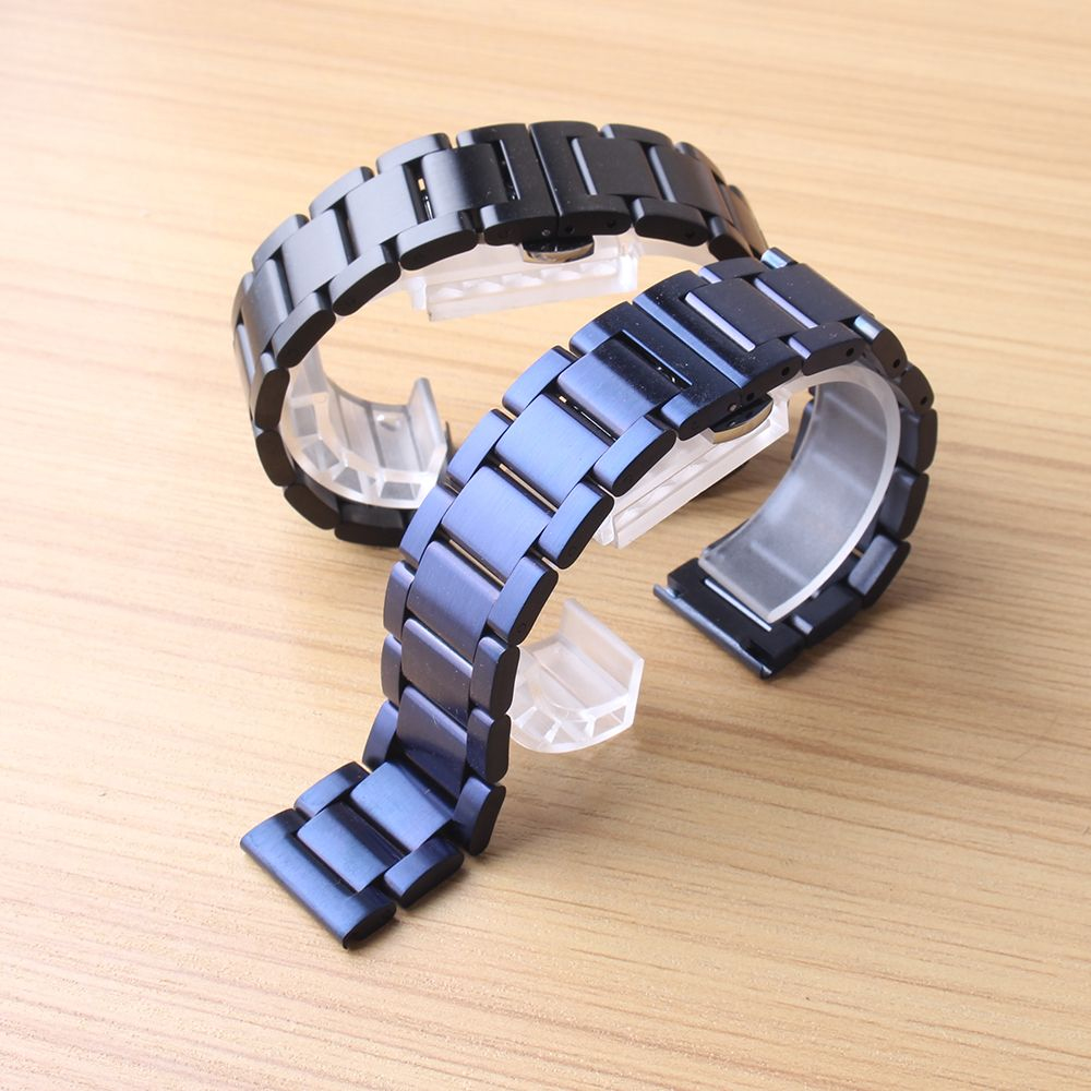 20mm 22mm Watchband strap blue black Polished Unpolished Wrist bands accessories butterfly buckle for sport watches deployment
