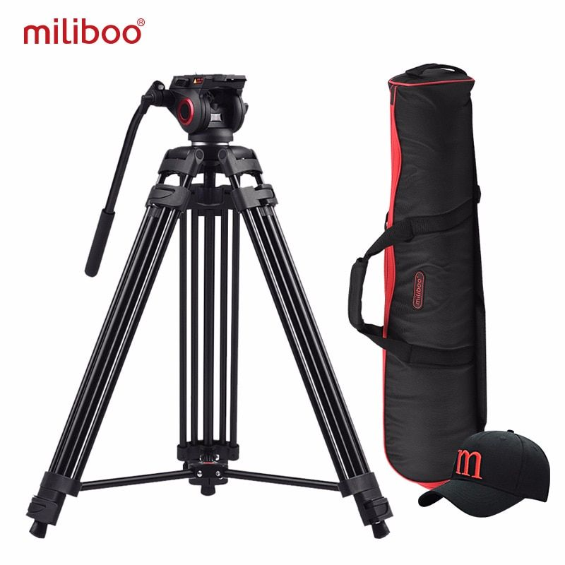 Miliboo MTT601A trépied pour appareil photo à tête fluide robuste en aluminium pour caméscope/support DSLR trépied vidéo professionnel