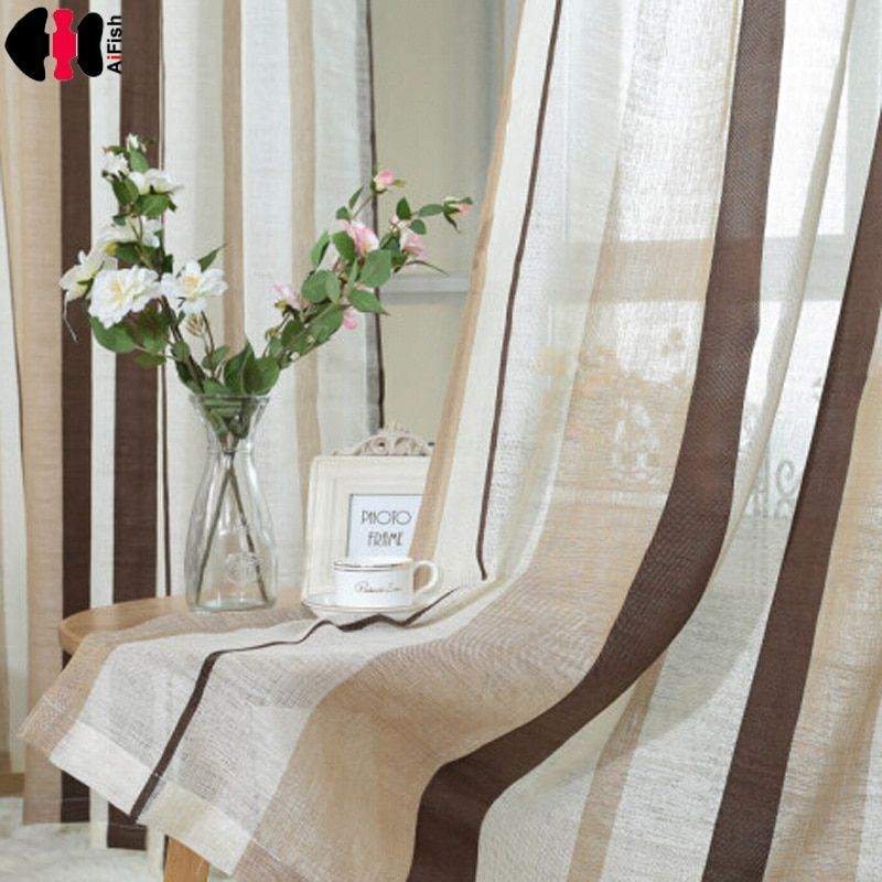 Coffee Striped Pattern fringe curtain Yarn curtains linen brown curtain fabric bedroom Kitchen striped curtains WP222B