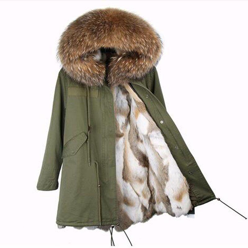 2018 neue lange winter jacke mantel frauen parka echt Waschbären Pelz Kragen mit kapuze natürliche kaninchen fell mantel Starke Warme Pelz liner parkas