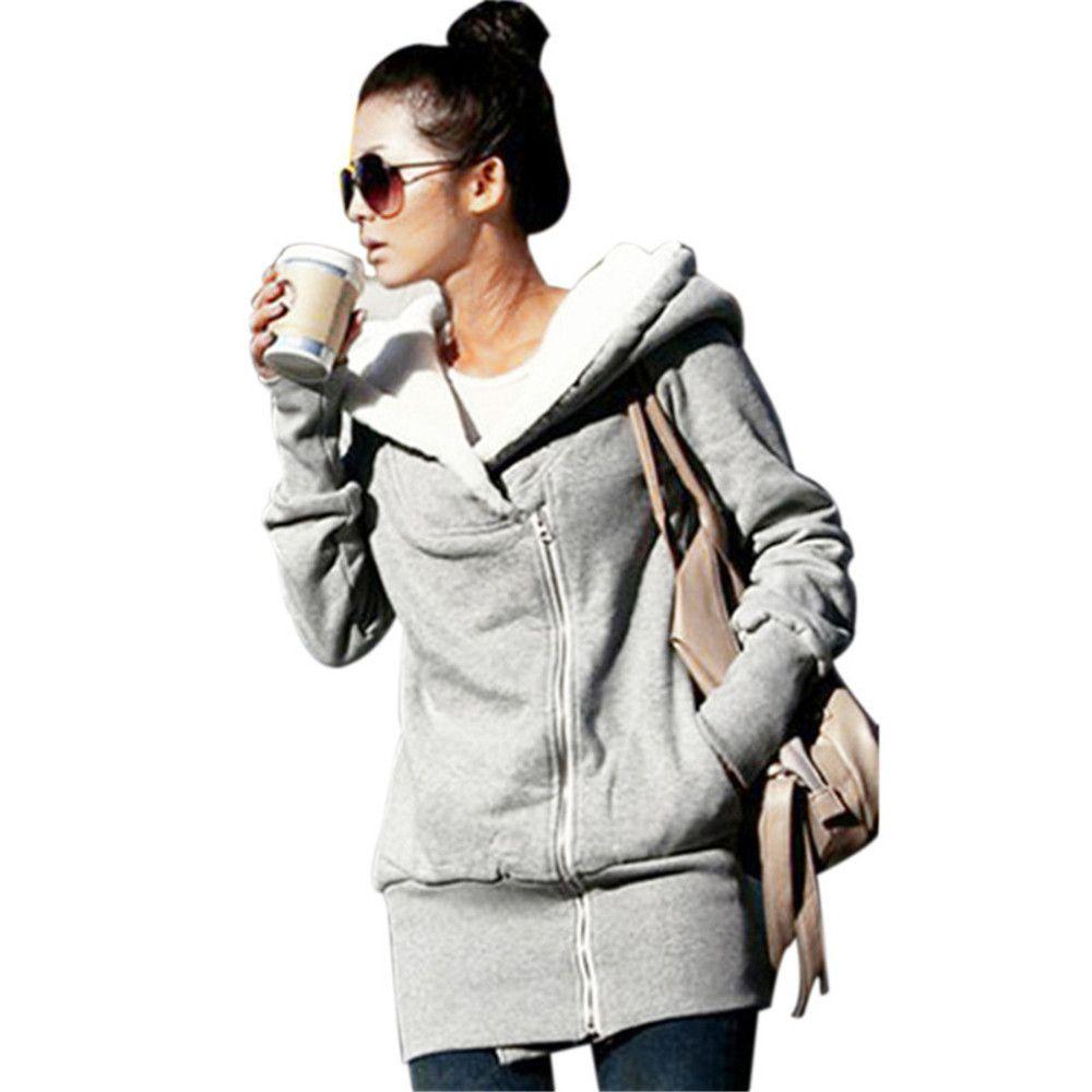 ZANZEA Mujeres Sudaderas Con Capucha Abrigo de Otoño Invierno Fleece Coat Zip Up Prendas de Abrigo Sudaderas Con Capucha Larga Chaqueta Parka Más El Tamaño Femenino