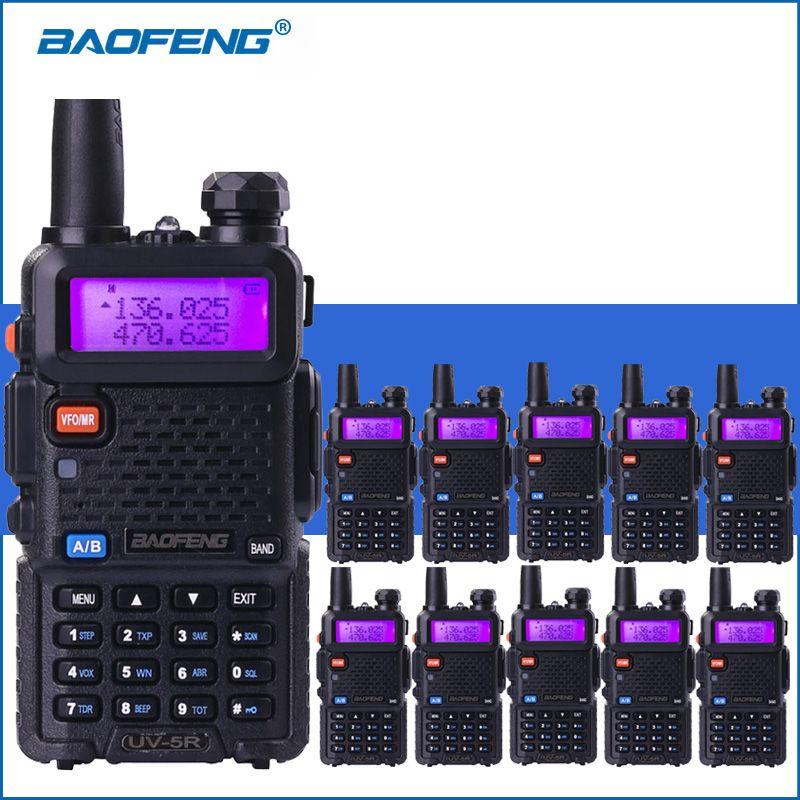10pcs/lot Baofeng UV-5R VHF UHF Walkie Talkie UV5R Handheld Two Way Ham Radio UV 5R Portable Walkie Talkies Radio Transceiver
