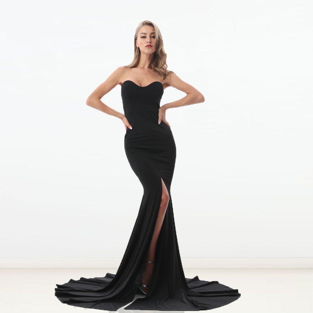 Kisscc Sexy bretelles rouge Maxi robe fendue avant longue longueur de plancher trompette robe de sirène sans manches élégante robe de soirée