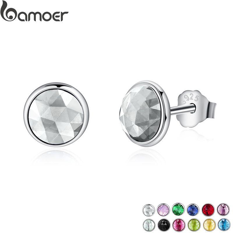 BAMOER Beliebte 925 Sterling Silber April Birthstone Tröpfchen, Rock Kristall Stud Ohrringe Für Frauen Mode Schmuck PAS498