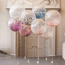5 piezas 12 pulgadas globo partido decoración de la boda Multicolor confeti globo engrosamiento pera globos de cumpleaños decoración
