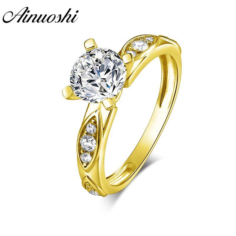 AINUOSHI 14 K Solide Gelb Gold Runde Ring 4 Krallen Vintage Blatt Muster Band SONA Diamant Frau Hochzeit Engagement Anillo ring