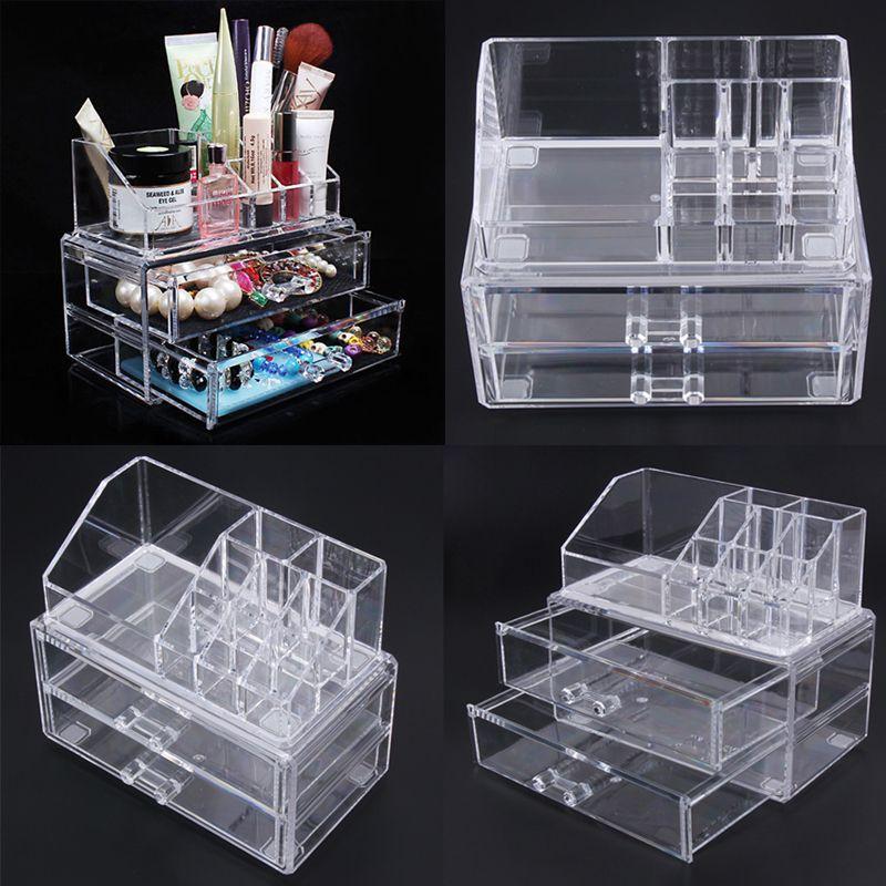 Portable Transparent Makeup Organizer <font><b>Storage</b></font> Box Acrylic Make Up Organizer Cosmetic Organizer Makeup <font><b>Storage</b></font> Drawers Christmas