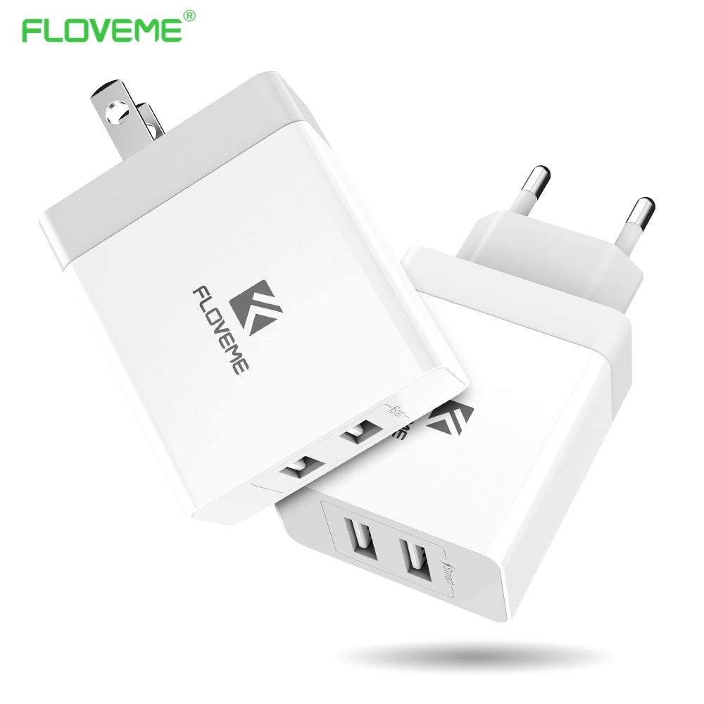 FLOVEME USB Charger 5V 3.4A Portable Travel Chargers [CE/RoHS/FCC ] 2 Ports USB Mobile Phone Charger for iPhone Laptop Pad