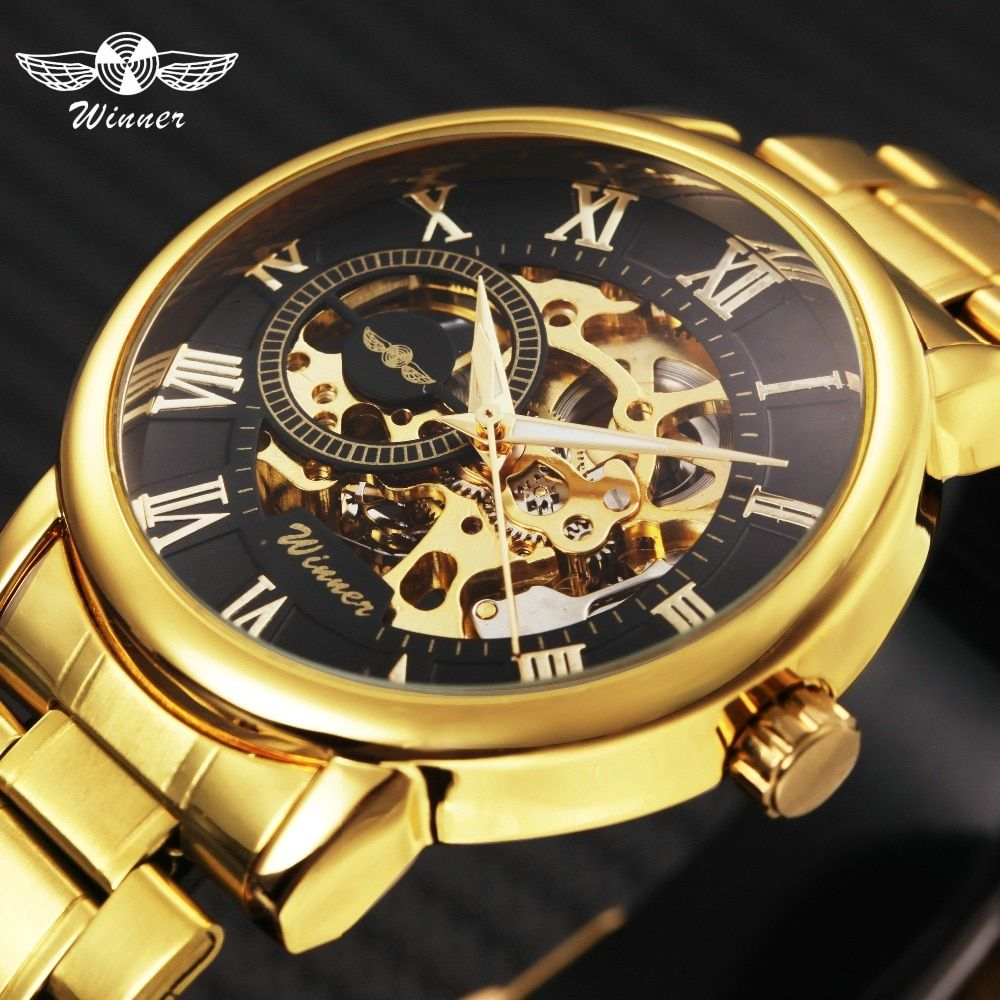 WINNER Golden Top Brand Luxury Mechanical Watch Men Stainless Steel Strap Skeleton Dial Fashion Business Wrist Watches For Man