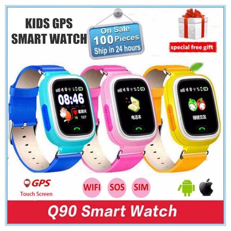 Q90 Q80 GPS Téléphone Positionnement De Mode Enfants Montre 1.22 Pouce Couleur Écran tactile SOS Montre Smart Watch PK Q50 Q60 Q730 Q750 V7K A6