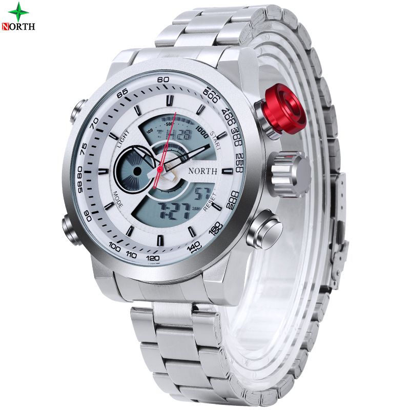 NORTH Watch Men Luxury Brand Sport LED Digital Watch Stainless Steel Waterproof Quartz Wristwatch Male Relogio Masculino
