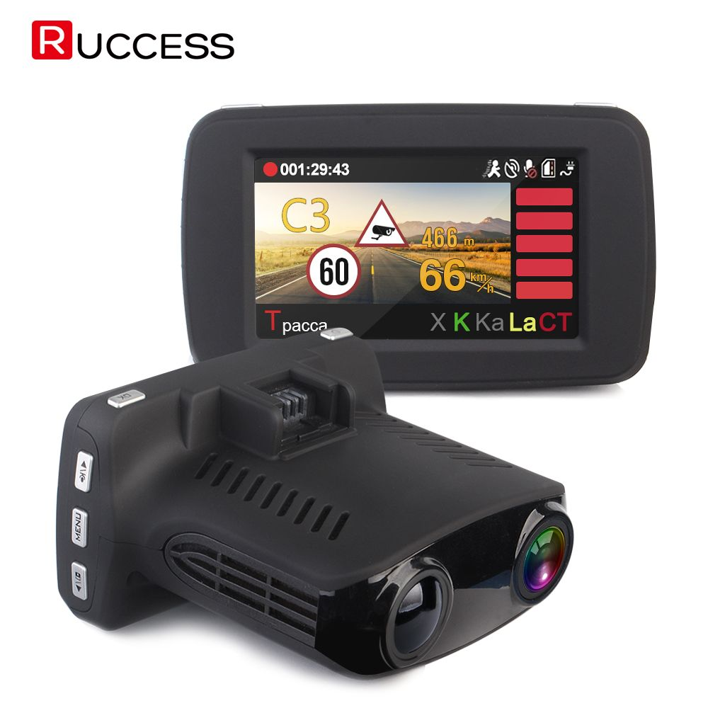 RUCCESS Auto DVR Radarwarner GPS 3 in 1 Russische Stimme Speedcam Anti Radar Detektoren Full HD 1296 P 2,7