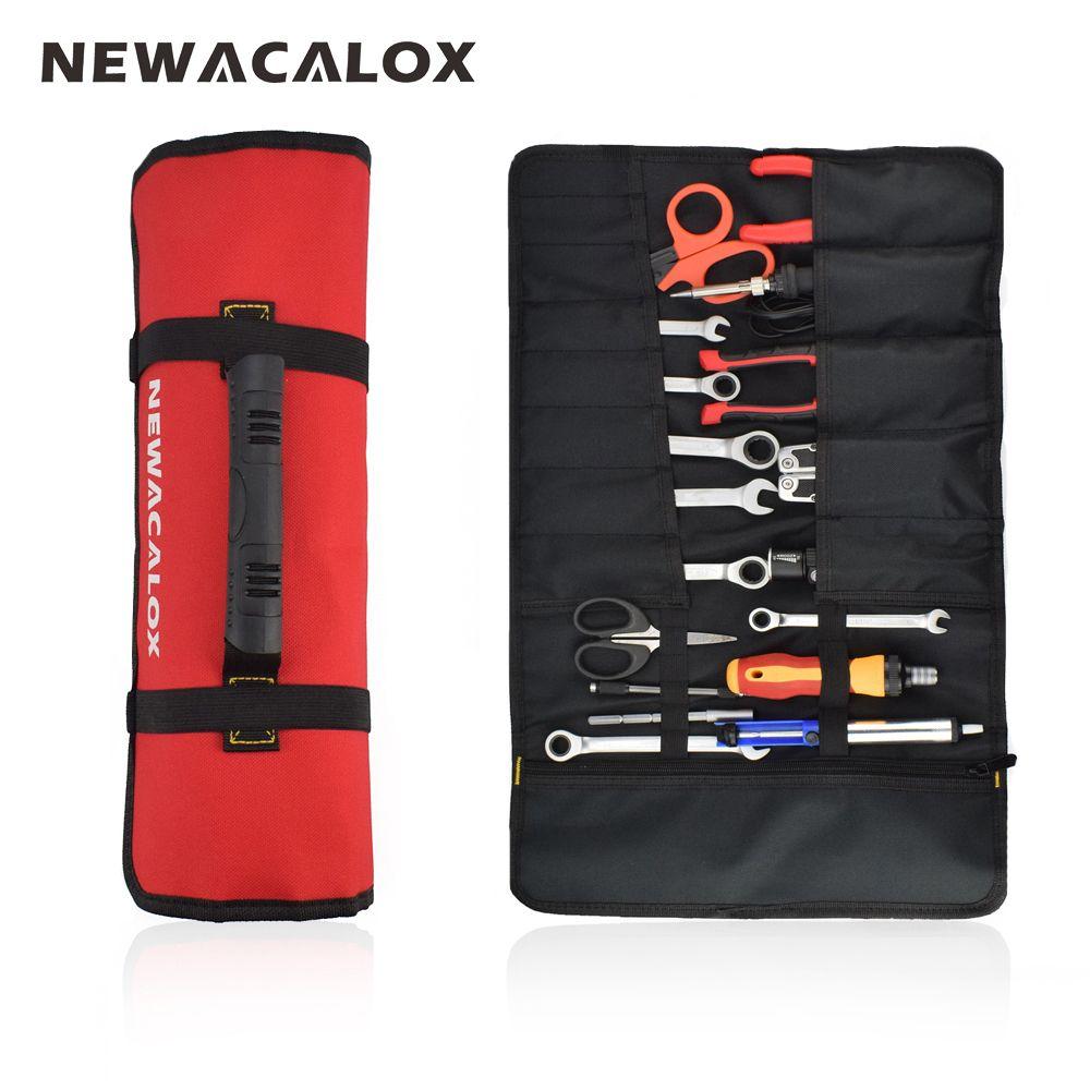NEWACALOX sac à outils 10 poche prise 600D Nylon Oxford outil rouleau pochette outils électriques sac à main