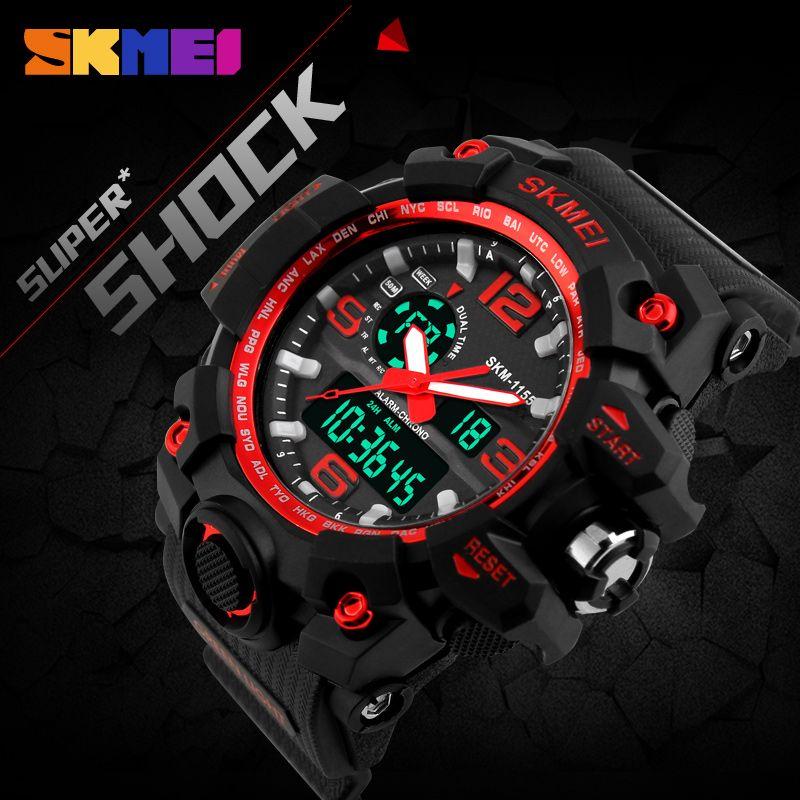 SKMEI Nueva S Choque Hombres Digital Cuarzo Reloj Grande Del Dial Relojes Deportivos Para Hombres de la Marca de Lujo Militar LED Relojes A Prueba de agua