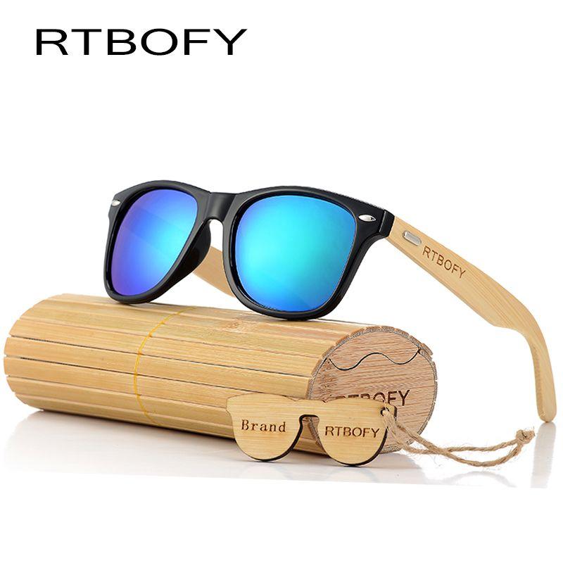 RTBOFY 2017 Rétro Bambou Bois lunettes de Soleil Hommes Femmes Marque Designer Lunettes Or Miroir UV400 Lunettes