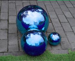 2 PCS 76 MM En Acier Inoxydable Boule Creuse Miroir Poli Bleu Brillant Sphère Pour Ornement De Jardin