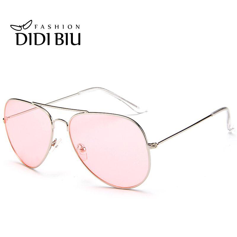 DIDI clair rose lunettes de soleil femmes hommes océan bleu Transparent lunettes de soleil couleur bonbon lunettes pilote jaune lentille lunettes vert W738