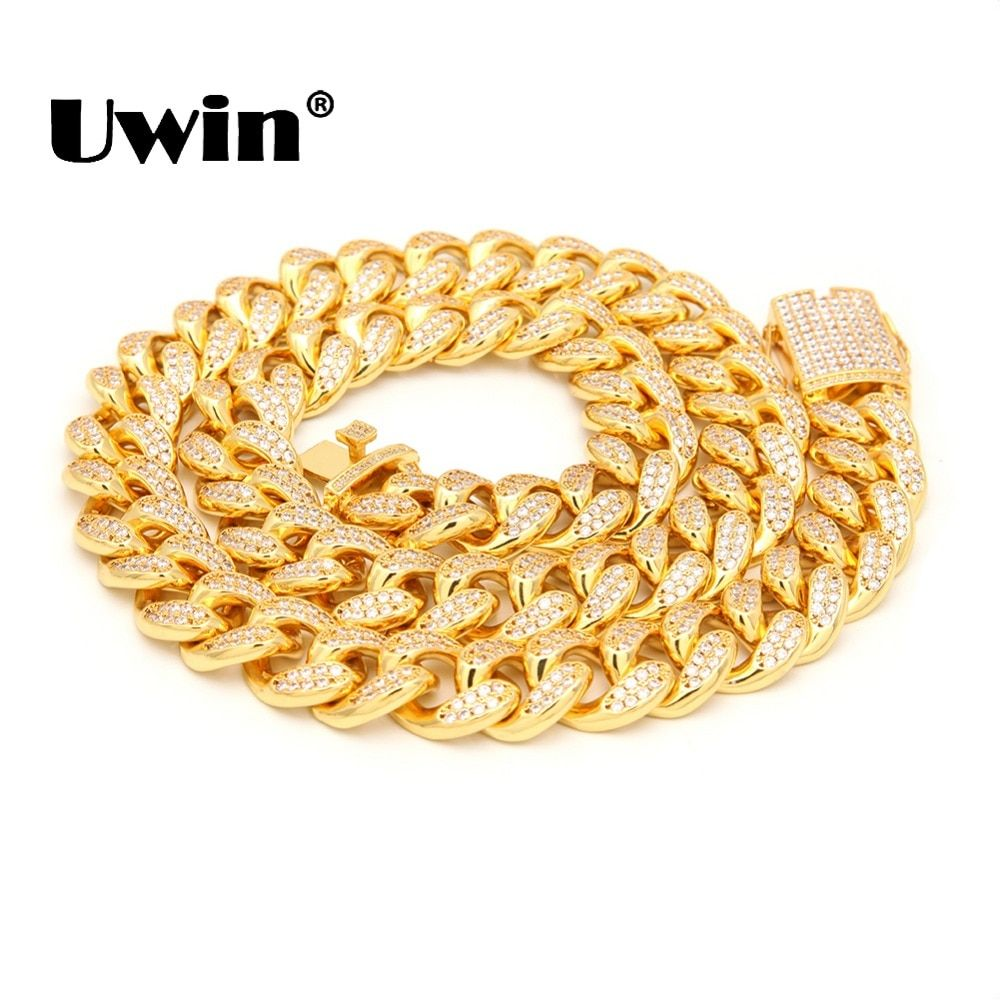 Uwin 20mm Width Heavy Cuban Link Chain Micro Pave Iced Out Cubic Zircon Silver/Gold Color Necklaces For Men Hiphop Jewelry