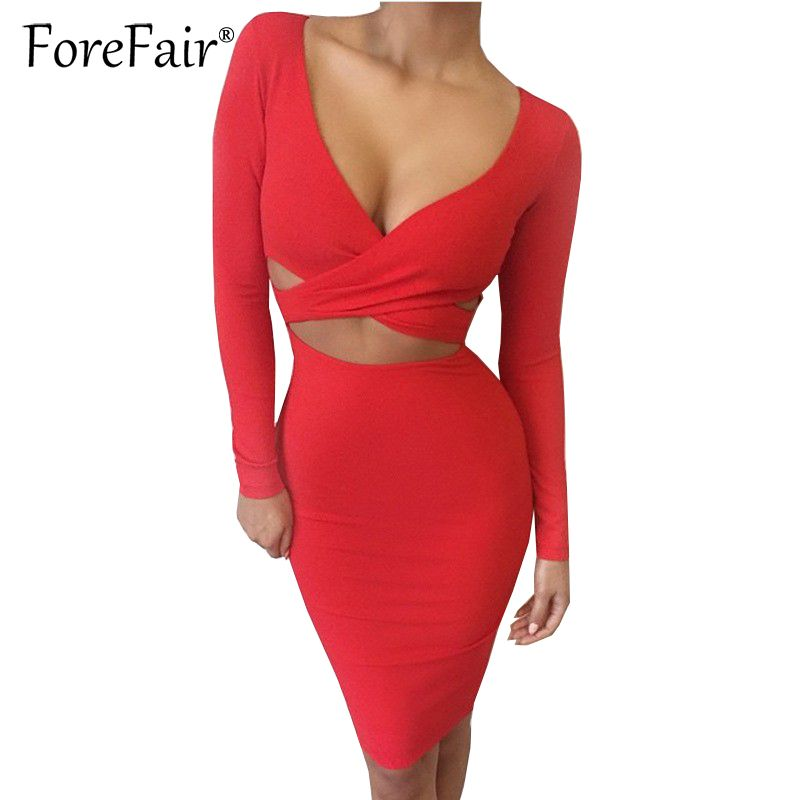 Forefair Sexy Criss <font><b>Cross</b></font> V Neck Bodycon Dress Women Autumn Winter Long Sleeve Night Club Wear Party Dresses Vestidos de festa