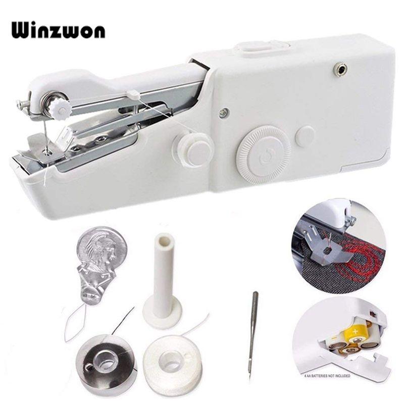 Portable ménage Mini main Machine à coudre point rapide coudre couture sans fil vêtements tissus Machine à coudre électronique