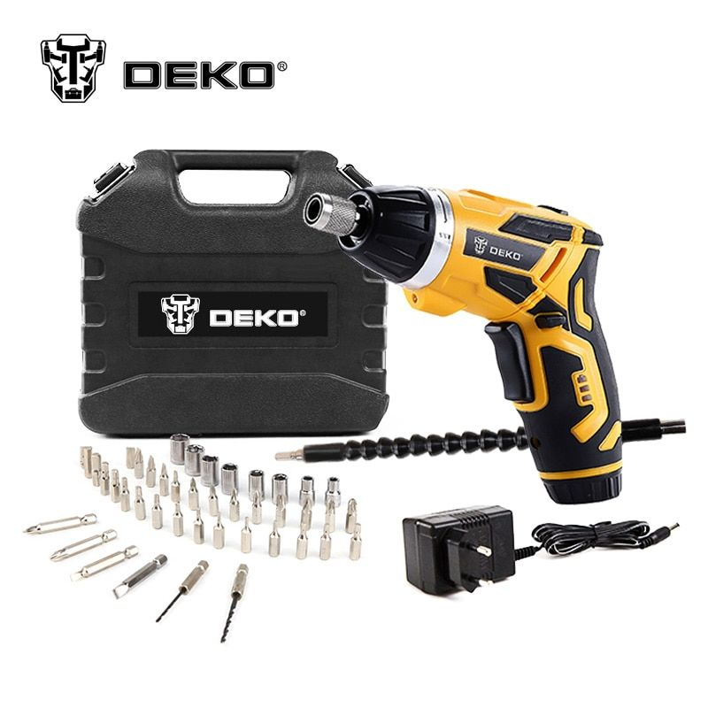 DEKO GCD3.6DKB 4V Cordless Electric Screwdriver Household Rechargeable Screwdriver with Twistable Handle & 45 Piece Accessories