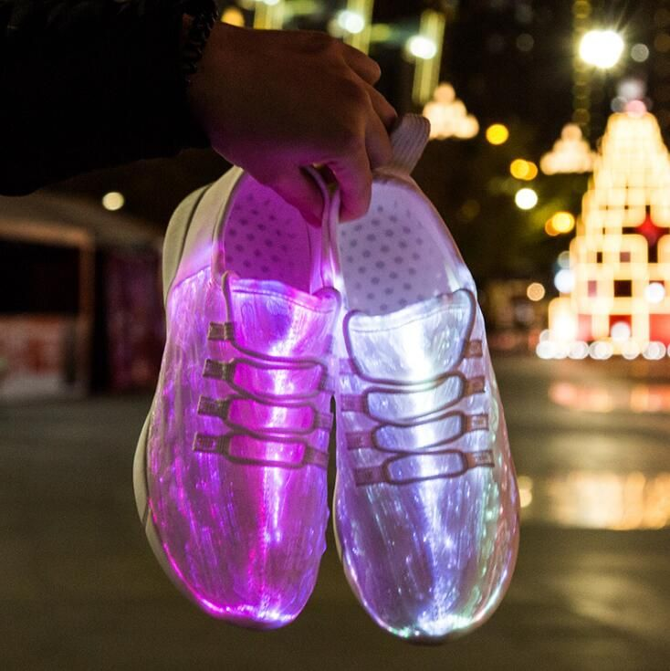 Luminous Fiber Optic Fabric Light Up Shoes 11 Colors Flashing White Teenager Girls&Boys USB Rechargeable Sneakers with Light