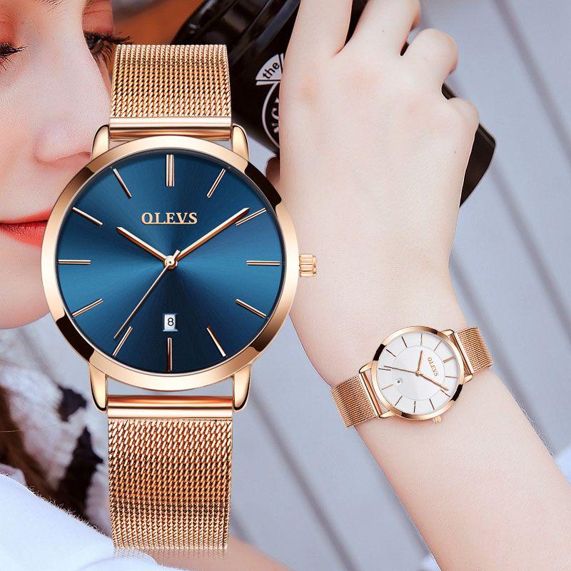 Original reloj OLEV diseño exclusivo Acero inoxidable resistente al agua relojes mujeres ultra delgado reloj de oro Relogio feminino