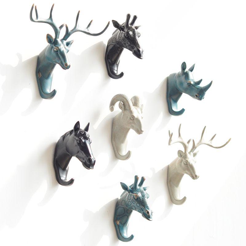 Newly Produced Deer Rhino Elephant Giraffe Horse Animal Decorative Hook Creative Resin <font><b>Model</b></font> Bathroom Wall Hook Coat Wall Hook