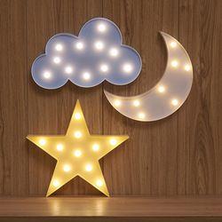 Encantador de la nube Star Moon LED 3D noche luz lindo niños regalo juguete para niños bebé dormitorio decoración interior iluminación
