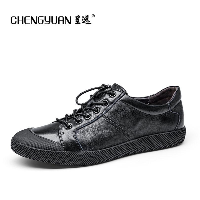Planos de los hombres de cuero genuino suave zapatos casuales plana para hombre negro daily net encaje ocio zapato 39-44 CHENGYUAN PROMOCIÓN