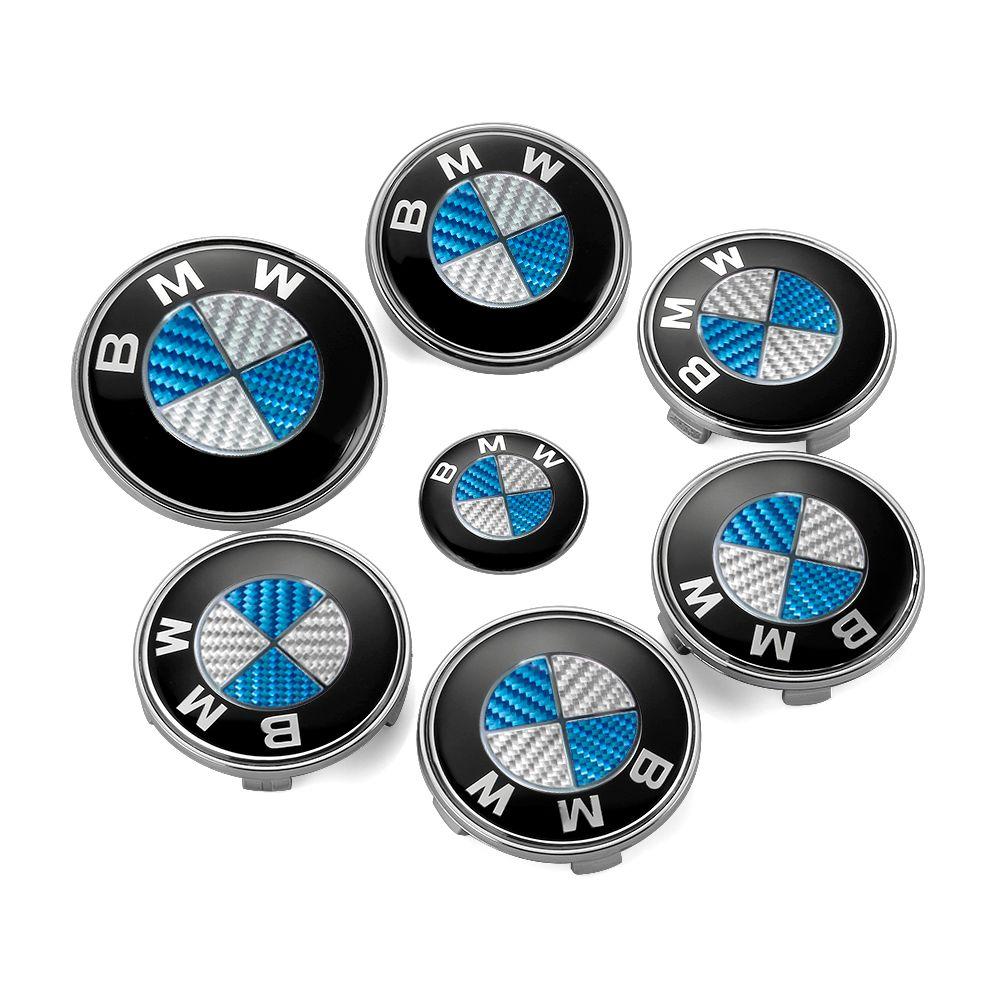 7pcs/lot BMW Blue White Front Bonnet Emblem Car Steering Wheel Cap Wheel Hub Cap Head Hood Logo Badge Trunk Emblem Cover Sticker