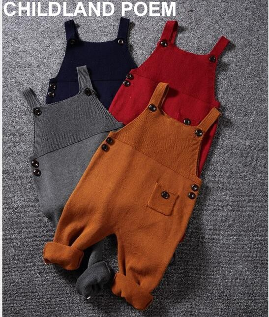1-5Y Autumn <font><b>baby</b></font> boys clothes Pocket Knitted <font><b>baby</b></font> Rompers Overalls Jumpsuits Boys Girls Candy Color Bib Harem Pants Kids Clothes