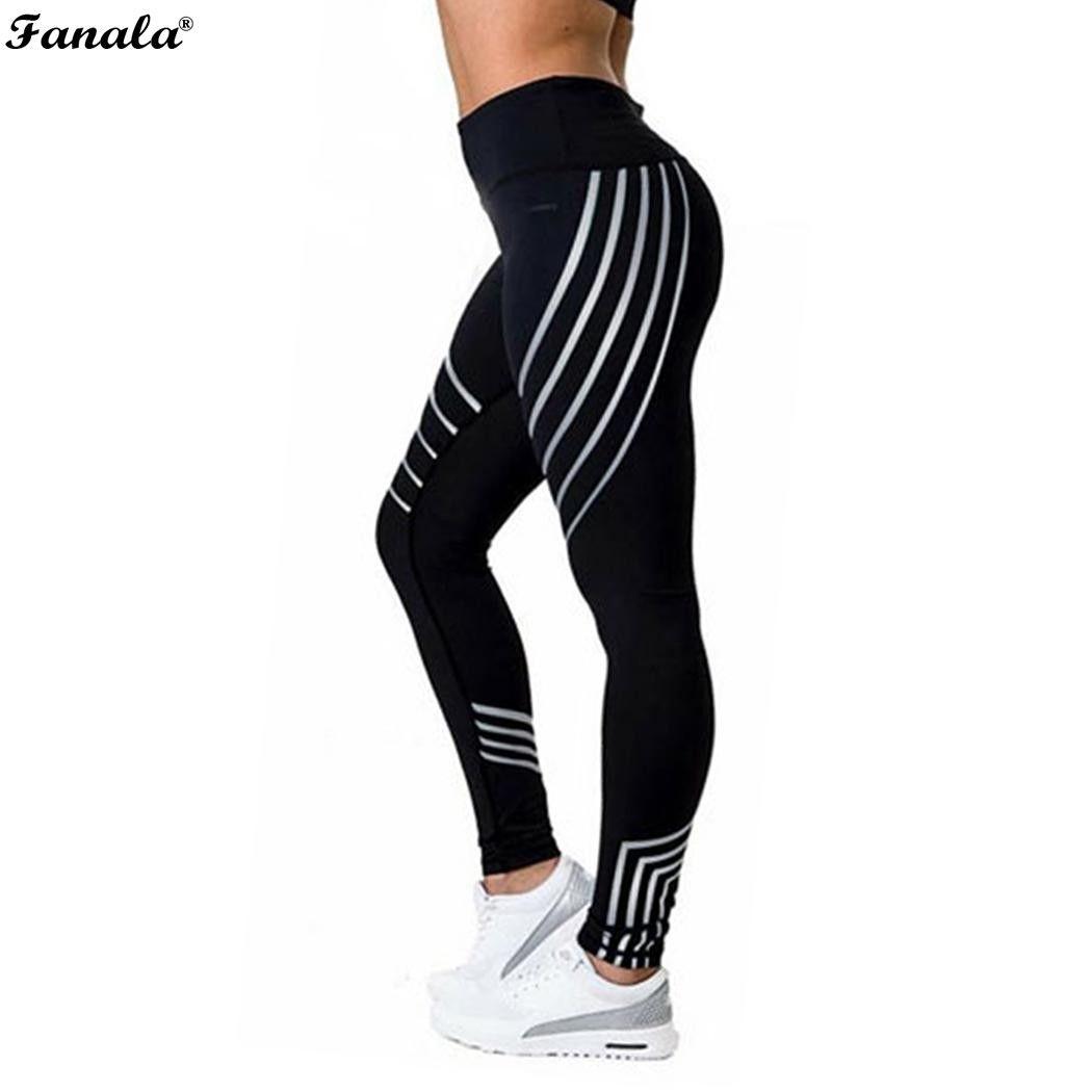 Women Fitness Leggings Women Sporting Strip Printed Workout Legging For Women Elastic Trousers Slim Black White Pants 2018 New